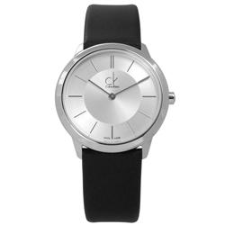CK 時尚曼哈頓簡約風皮革女錶-銀x黑/34mm