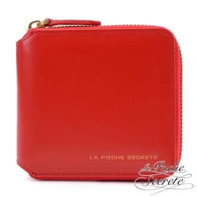 La Poche Secrete真皮 韓系簡約質感真皮實用短夾 魅力紅