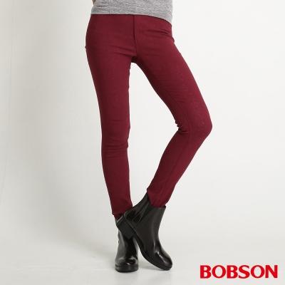 BOBSON 女款高腰高彈力緹織布緊身褲(紅13)