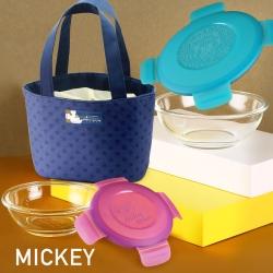 迪士尼Disney 米奇繽紛塗鴉密封玻璃保鮮盒兩件組260ml/800ml+星星保溫提袋