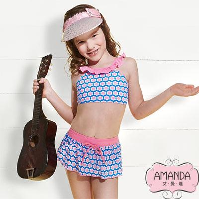AMANDA 女童泳裝 二截-藍寶兒-3804附帽