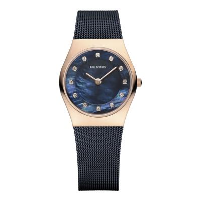 BERING丹麥精品手錶 晶鑽米蘭帶系列 珍珠母貝錶盤 北歐藍x玫瑰金 小錶面27mm