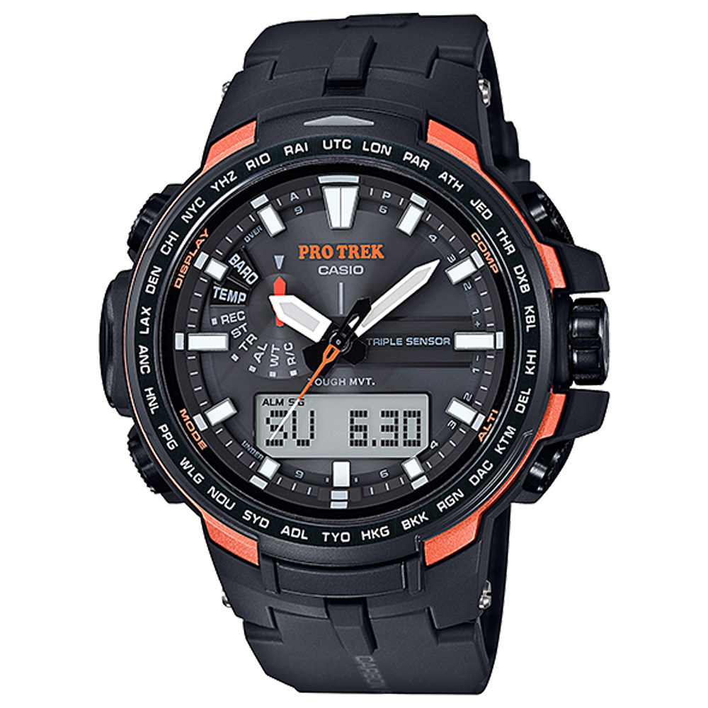 PROTREK酷黑新裝備三大感應低耗量電波錶(PRW-6100Y-1)橘邊/51.6mm