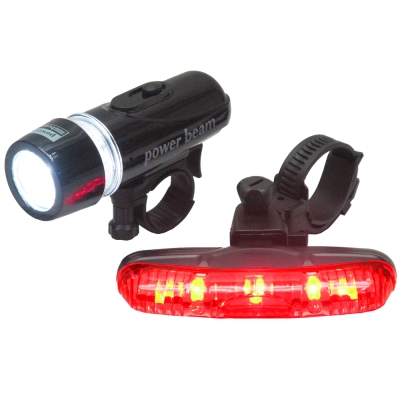 MB自行車超亮5LED貓眼前燈頭燈防水3段長尾燈組(FY201)