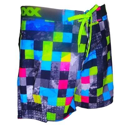 WAXX 數位多色方格高質感吸濕排汗男性海灘褲