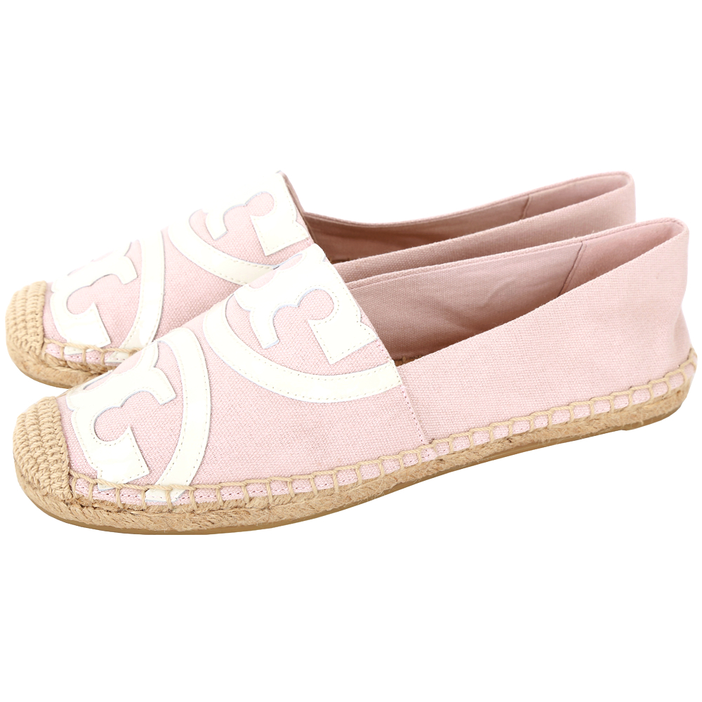 TORY BURCH Poppy 漆皮細節草編帆布鞋(玫瑰粉)