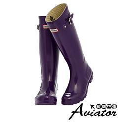 Aviator*韓國空運-Paperplanes扣帶防水高筒雨靴-紫