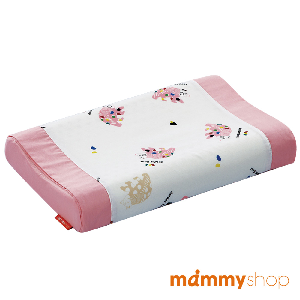 媽咪小站-嬰兒乳膠護頸枕-點點熊 (粉)