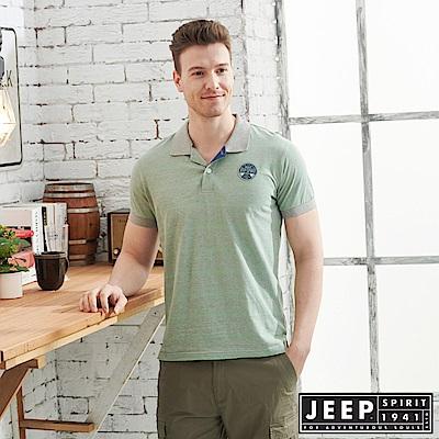JEEP清新細條紋短袖POLO衫-綠灰