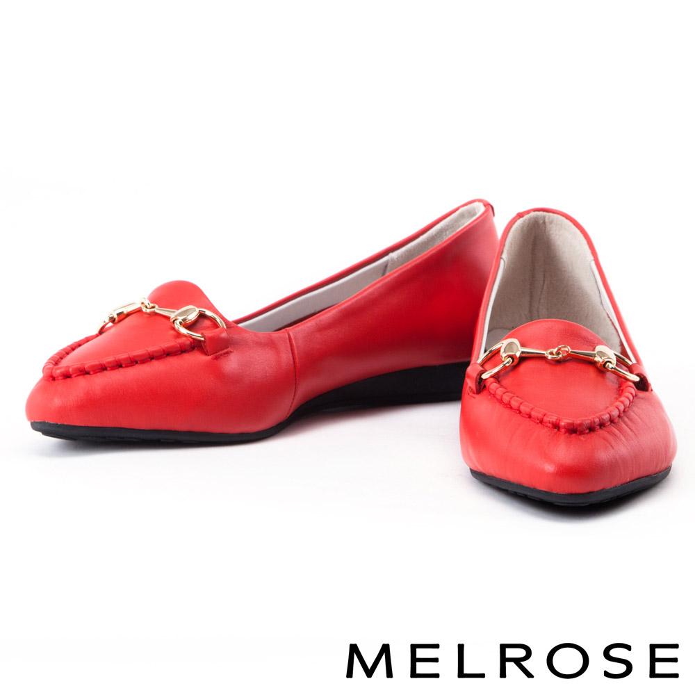 平底鞋 MELROSE 經典金屬釦牛皮尖頭平底鞋-紅