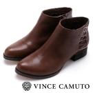 Vince Camuto 側邊編織素色粗跟短靴-咖啡