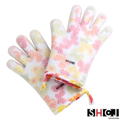 SHCJ生活采家五指型雙層防燙矽膠隔熱手套(2入組)