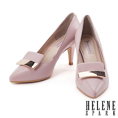 高跟鞋 HELENE SPARK 都會典雅金屬飾片設計全羊皮尖頭高跟鞋-粉