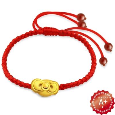 A+ 蝴蝶幸運結 千足3D硬黃金轉運紅繩手鍊