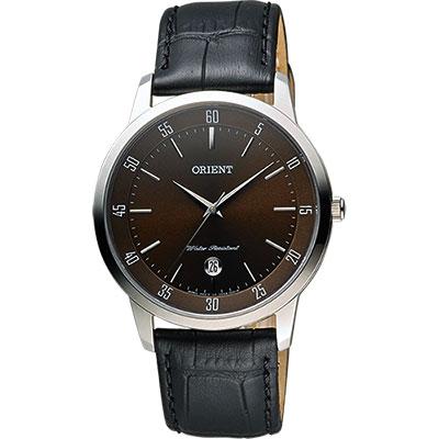 ORIENT 東方錶 SLIM系列城市時尚石英錶-咖啡x黑/39mm