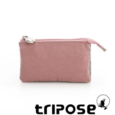 tripose 漫遊系列岩紋簡約微旅萬用零錢包 粉膚