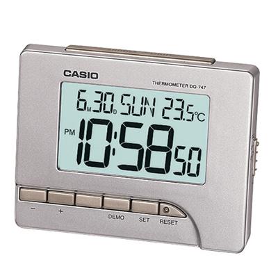 CASIO 測溫型數字電子鬧鐘(DQ-747-8)-銀