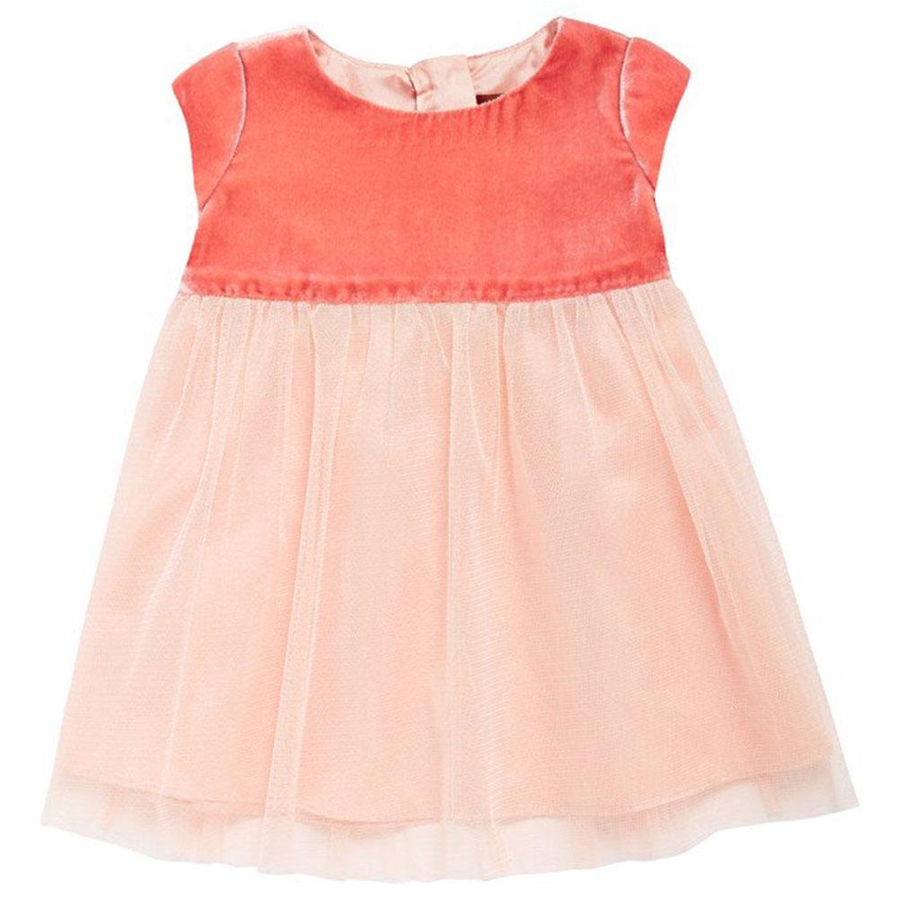 I Love Gorgeous 絲絨圓領紗裙洋裝-珊瑚紅