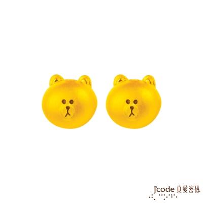 J'code真愛密碼 LINE甜心熊大黃金耳環