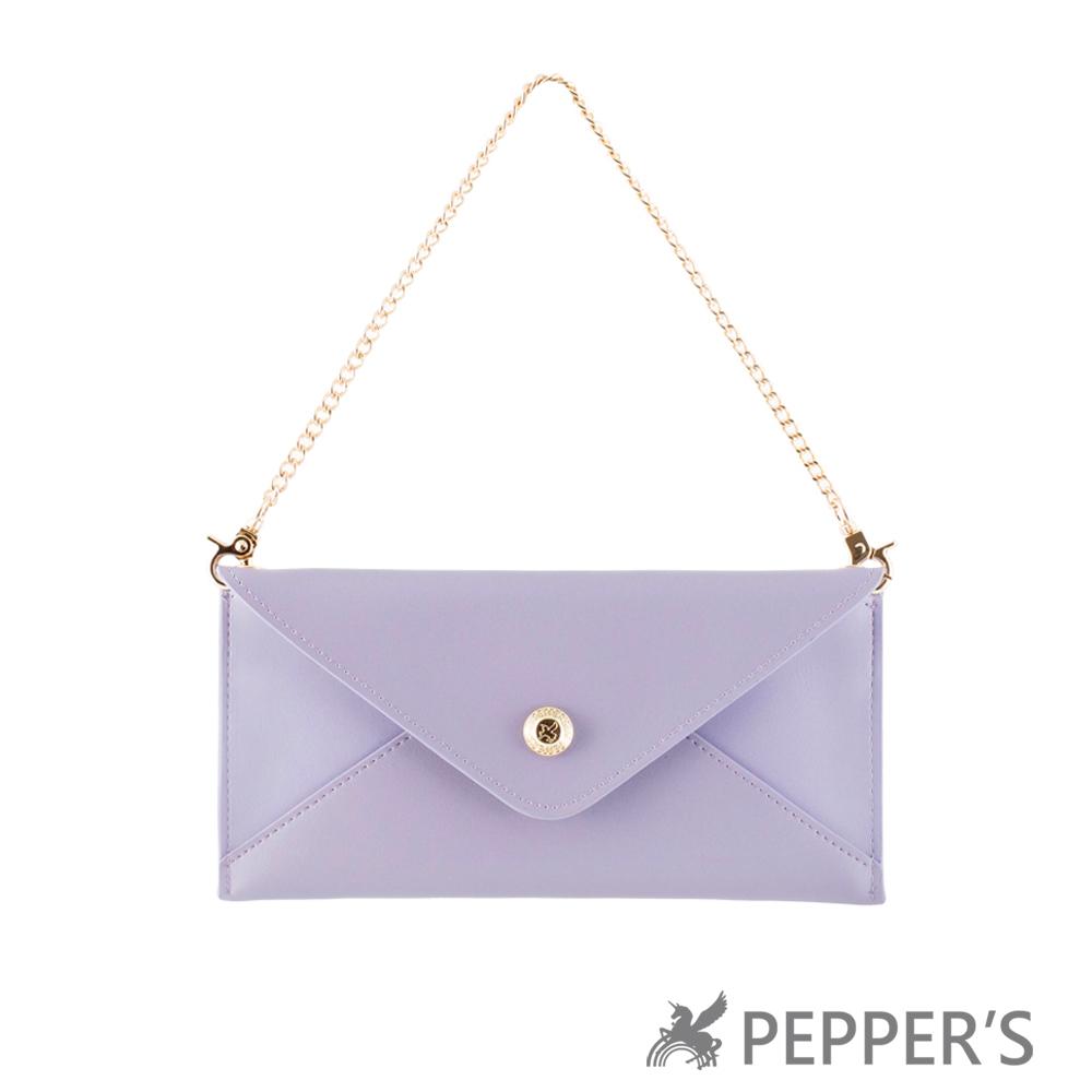 PEPPER`S 天馬包 牛皮信封手拿包 - 香檳紫