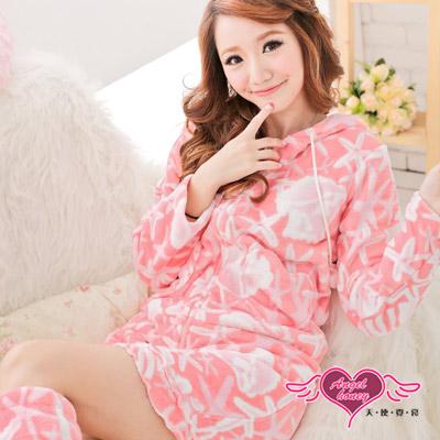 天使霓裳 淘氣可人 居家柔軟珊瑚絨睡衣組(粉白)