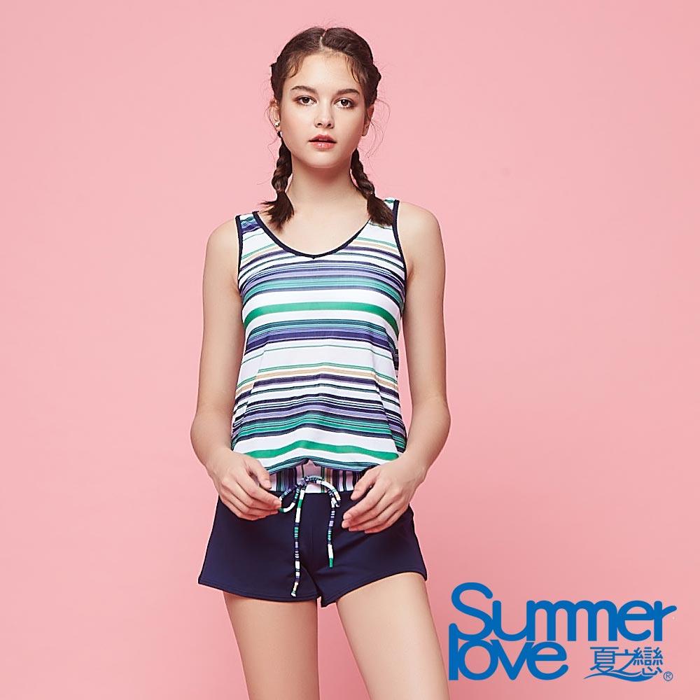 夏之戀SUMMER LOVE 大女條紋連身褲三件式泳衣