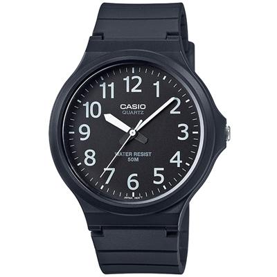 CASIO 超輕薄感實用必備大表面指針錶-(MW-240-1B)黑x白數字/45mm
