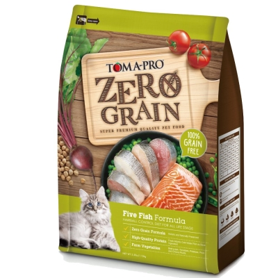 優格TOMA-PRO 零穀食譜 五種魚化毛配方貓糧 5.5磅