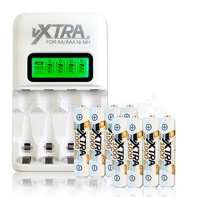 VXTRA 4號1000mAh充電電池(8顆入)+VXTRA LCD 充電器