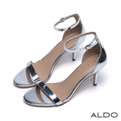 ALDO原色一字露趾金屬釦繫踝跟鞋-耀眼銀色