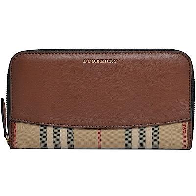 Burberry Horseferry Check 戰馬格紋皮革環繞式拉鍊皮夾(駝/格紋)
