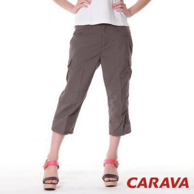 CARAVA 女款排汗七分褲(深橄綠)