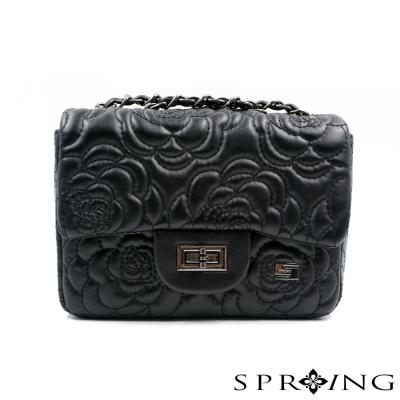 SPRING-山茶花刺繡鍊帶小方包-黑