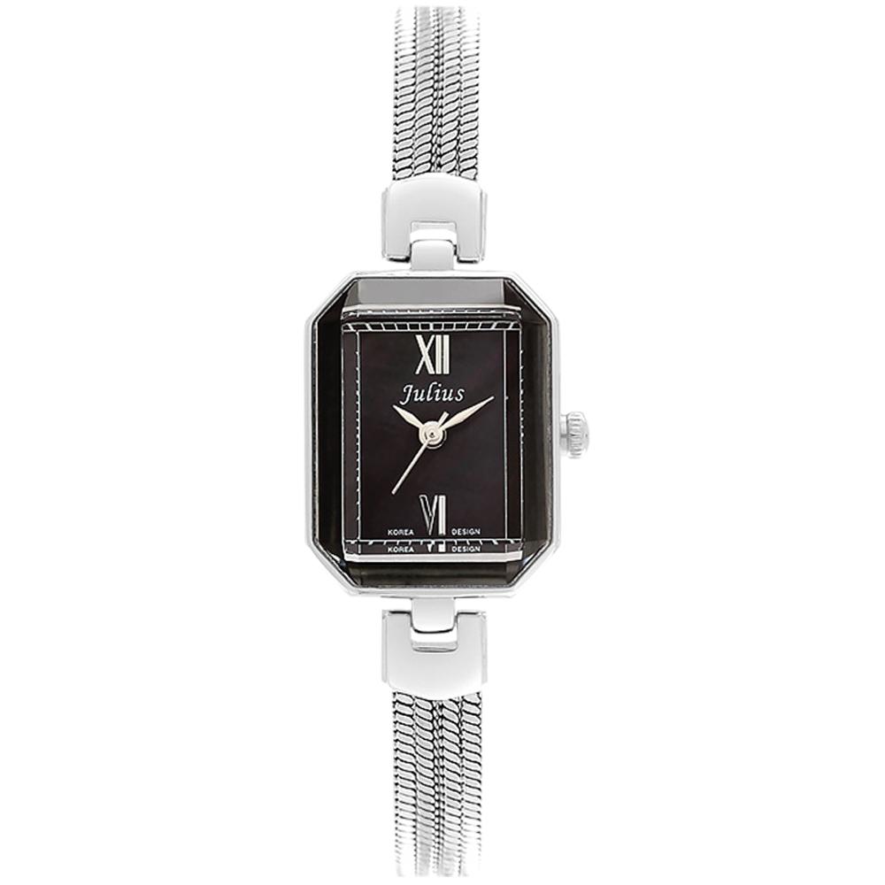 JULIUS聚利時左岸呢喃貝殼面鍊飾腕錶-黑x銀20x26mm