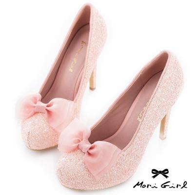 Mori girl 2way可拆式蝴蝶結亮片高跟婚鞋 粉