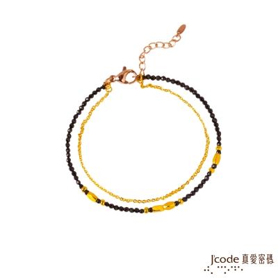 J code真愛密碼金飾 獨特黃金/尖晶石手鍊-雙鍊款