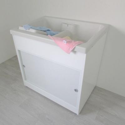 Amos-精緻櫥櫃型洗衣槽附洗衣板(雙槽)W84.5*D58*H84 CM