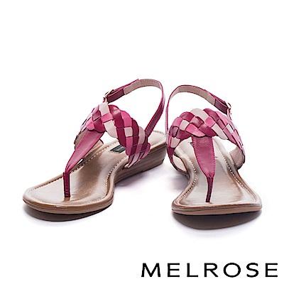 涼鞋 MELROSE 三色麻花造型T字羊皮楔型低跟涼鞋-粉
