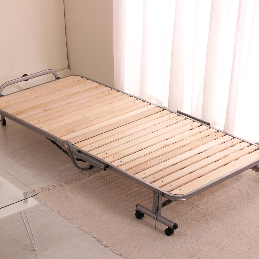 日通家居王 日式簡約-無段輪式楓木實木折疊床