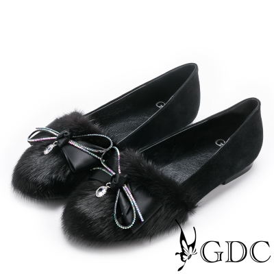 GDC~浪漫法式貂毛蝴蝶結水鑽平底包鞋~黑色