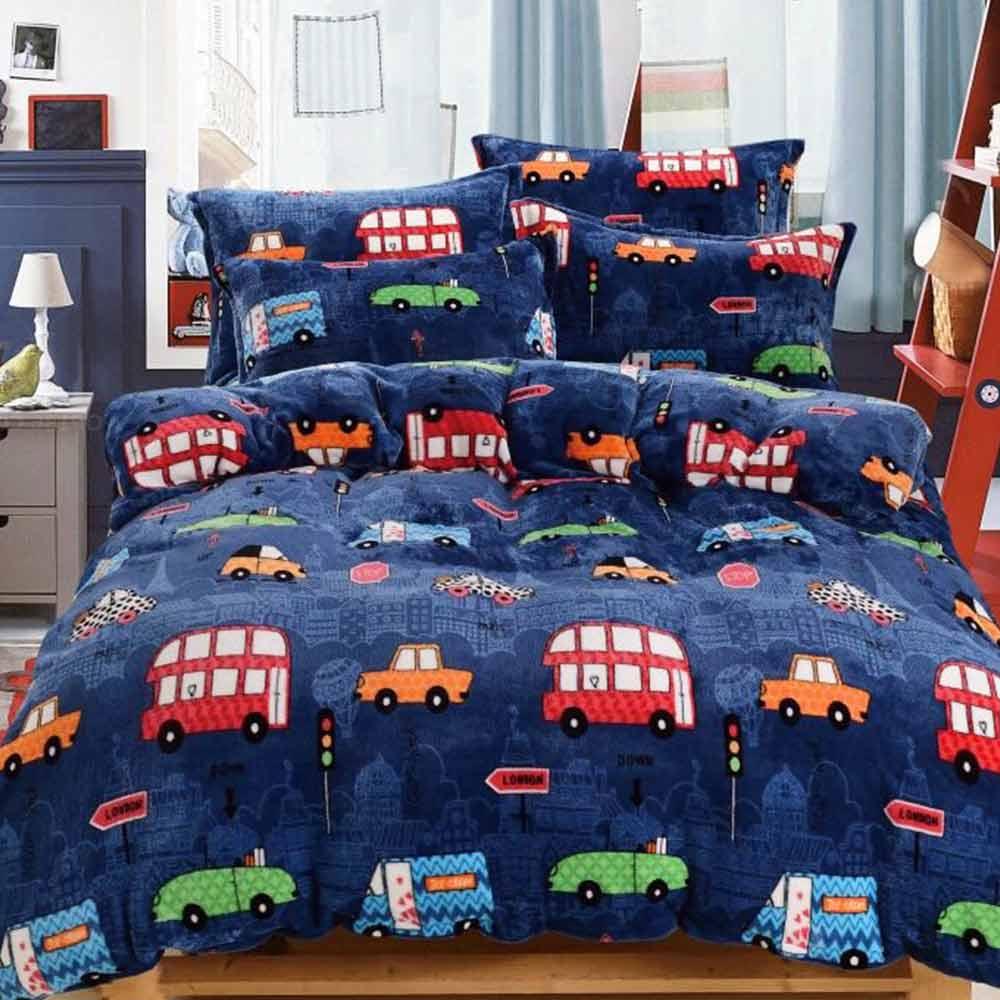 Ania Casa 汽車城 雙人四件式 超保暖法蘭絨 床包被套四件組