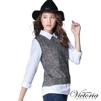 Victoria 假兩件式襯衫領拼接長袖T-女-黑色