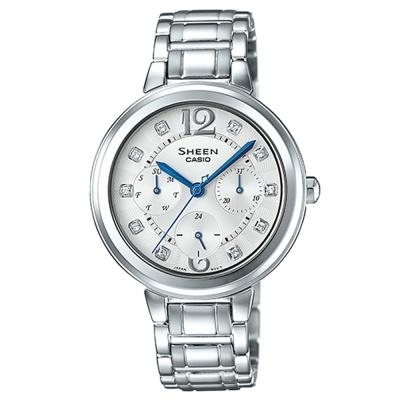 SHEEN 華麗之美水晶時刻玫瑰金腕錶(SHE-3048D-7A)-銀/35mm