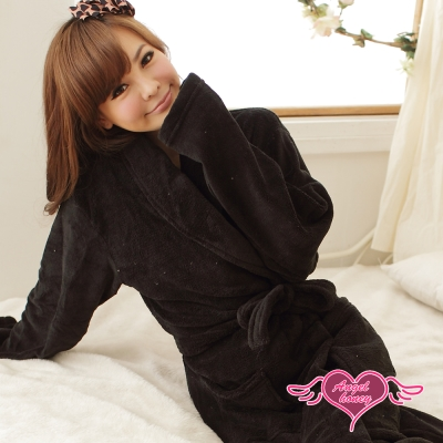 天使霓裳 輕鬆自在 柔軟珊瑚絨綁帶睡袍(黑F)
