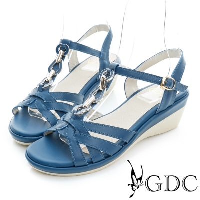 GDC-閃耀金屬飾扣編織真皮楔型厚底涼鞋-藍色