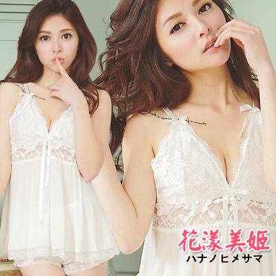 奢華冰絲睡衣褲組 蕾絲印花 性感薄紗透膚 (白) 花漾美姬