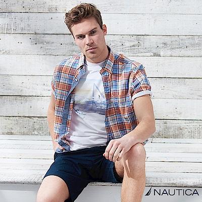 Nautica 復古大格紋短袖襯衫 -橘