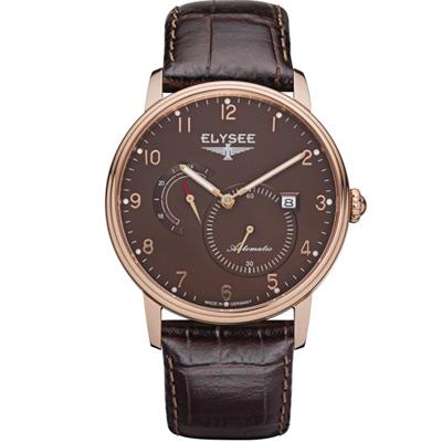 ELYSEE  Priamos  獨立秒針機械腕錶-咖啡/41mm