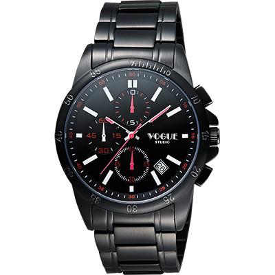 VOGUE 嶄新系列三眼計時腕錶-IP黑x紅白時標/40mm