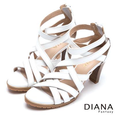 DIANA-羅馬線條-精湛工藝車線繞帶真皮涼跟鞋